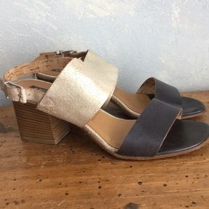 Alberto Fermani cracked leather metallic sandals
